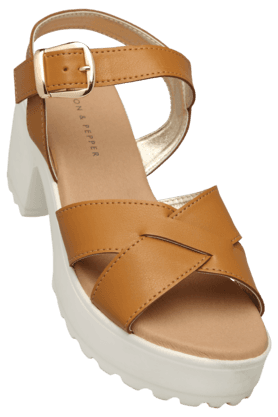 LEMON & PEPPER Womens Casual Ankle Buckle Closure Wedge Sandal