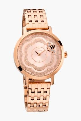 TITAN Womens Rose Gold Dial A Blooming Rose Watch- 95050WM01J