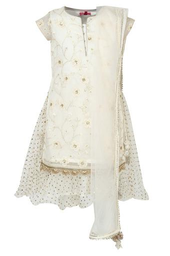 Girls Round Neck Zari Embroidered Layered Salwar Suit