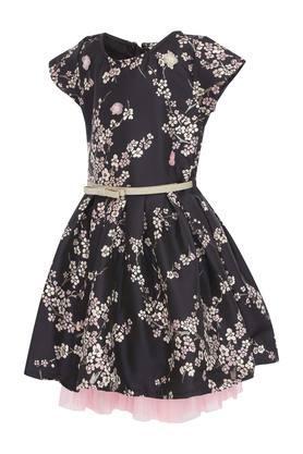 Girls Round Neck Floral Print Skater Dress