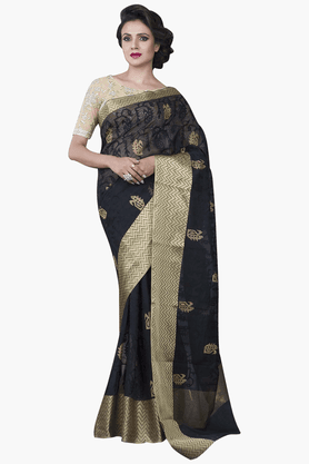 JASHN Womens Embroidered Saree With Blouse Piece - 201313062