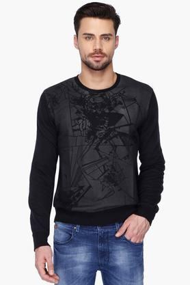 WROGNMens Round Neck Slim Fit Printed Sweatshirt