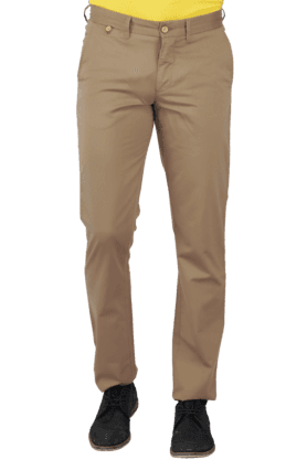 ALLEN SOLLYMens Flat Front Slim Fit Solid Formal Trouser