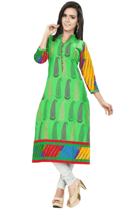 DEMARCA Womens Printed Kurta (Buy Any Demarca Product & Get A Pair Of Matching Earrings Free) - 200936949