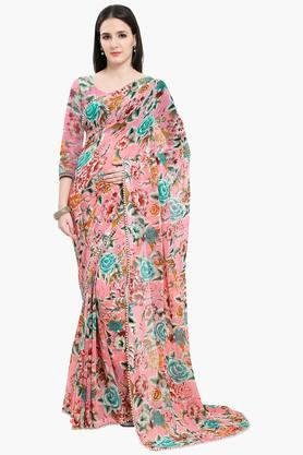 Women Faux Georgette Floral With Pearl Lace Printed Saree