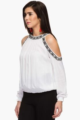Womens Round Neck Cold Shoulder Solid Top