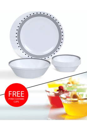 CORELLE India Impressions City Block 14 Pcs Dinner Set With Free Pyrex Custard Cups