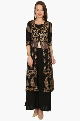 IRA SOLEIL Womens Printed Kurta And Palazzo Set (Buy Any Ira Soleil Product And Get A Necklace Free)