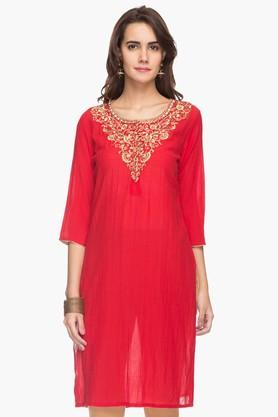 RS BY ROCKY STAR Womens Embroidered Round Neck Kurta