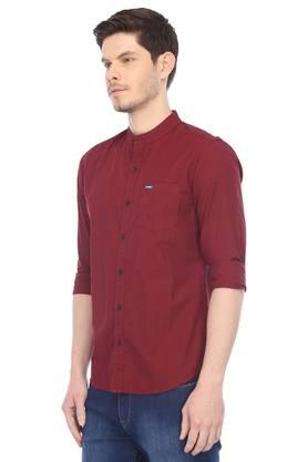 Mens Mao Collar Slub Casual Shirt