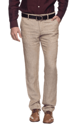 INDIAN TERRAINMens Flat Front Slim Fit Solid Formal Trouser