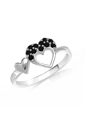 MAHI Mahi Valentine Love Rhodium Plated Black Heart Ring Made With Swarovski Elements For Women FR1104001RBla