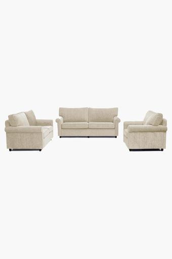 Canvas Beige Fabric Sofa (3-2-1 Sofa Set)