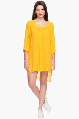 EXCLUSIVE LINES FROM BRANDSNOI Womens Round Neck Solid Tunic