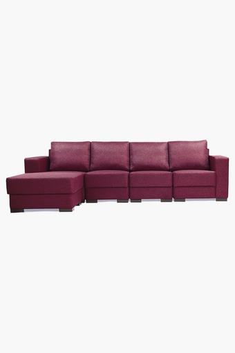 Cranberry Maroon Fabric Modular Sofa (1 Left -1 Right -2 Center -1 Pouf)