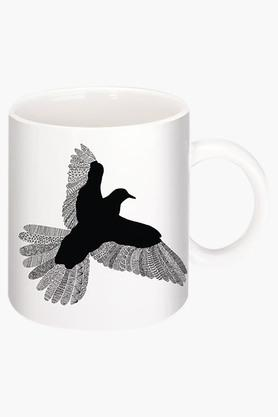 CRUDE AREA Bird On Black Printed Ceramic Coffee Mug By Florent Bodart