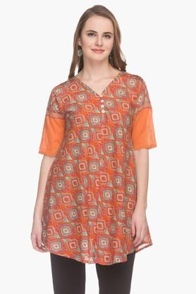 BOHEMYAN BLUE Womens V Neck Printed Kurta