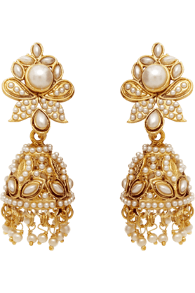 DONNATraditional Ethnic Butterfly Jhumki Earrings With Artificial Pearl For Women By Donna ER30015G (Use Code FB15 To Get 15% Off On Purchase Of Rs.1200)