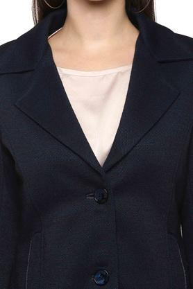 Womens Notched Lapel Slub Coat