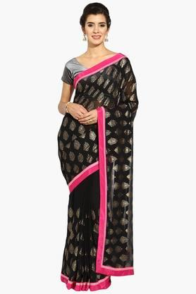 Women Ethnic Foil Print Georgette Saree