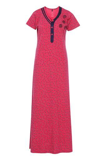Womens V Neck Printed Night Gown
