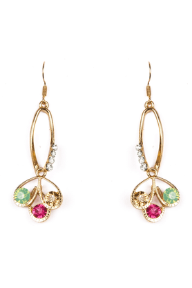 TRIBAL ZONE Delicate Golden Earrings With Multicolored Stones