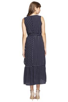 Womens V Neck Striped Wrap Dress