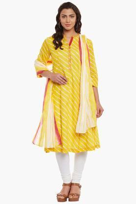 BIBAWomens Mandarin Neck Stripe Churidar Suit