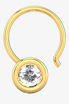 VELVETCASEWomens 18 Karat Yellow Gold Nose Ring (Free Diamond Pendant) - 201065046