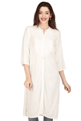 W Women Cotton Solid Kurta