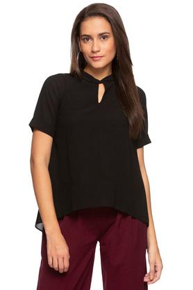 Womens Key Hole Neck Solid Asymmetrical Top