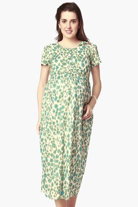NINE MATERNITY Womens Round Neck Printed Nursing Dress - 202345138