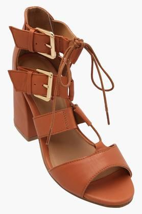 Womens Party Wear Buckle Closure Heel Sandals