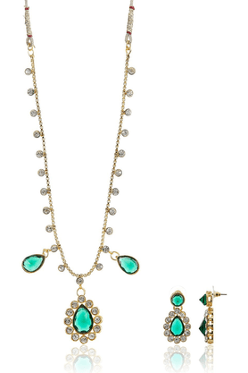 SIA Green Austrain Diamond Necklace And Set-16532