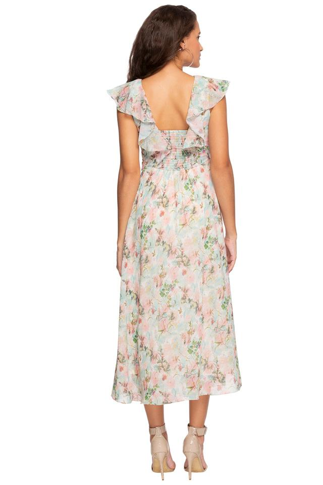 Womens V Neck Floral Printed Ruffled Midi Dress