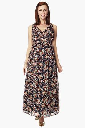 NINE MATERNITY Womens Surplice Neck Printed Dress