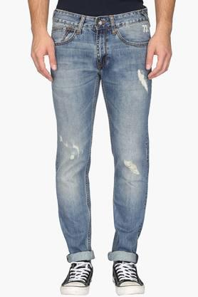 PEPE Mens 5 Pocket Regular Fit Heavy Wash Jeans (Hatch Fit)