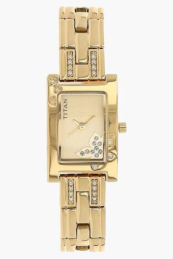 Womens Champagne Dial Brass Strap Watch