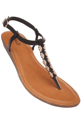 INC.5Womens Black Toned Ankle Buckle Closure Flat Sandal