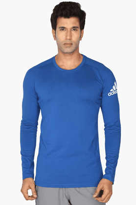 ADIDAS Mens Round Neck Full Sleeves Solid T-Shirt