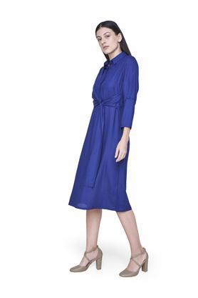 Womens Solid Wrap Dress