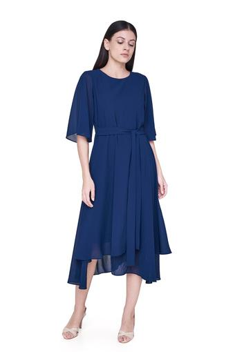 Womens Round Neck Solid Asymmetrical Dress