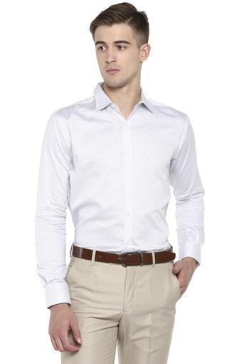 Mens Slim Collar Self Printed Formal Shirt