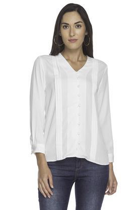 Womens V Neck Solid Shirt