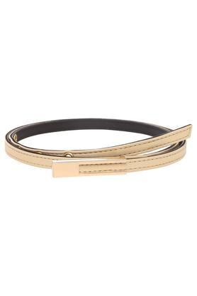 Womens Leather Buckle Closure Casual Skinny Belt