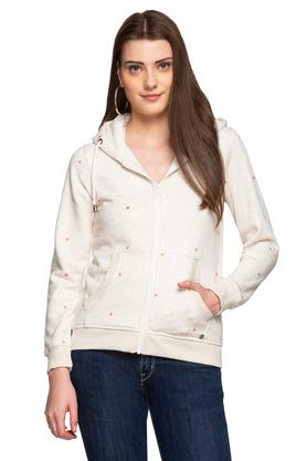 Womens Hooded Neck Embroidered Sweatshirt
