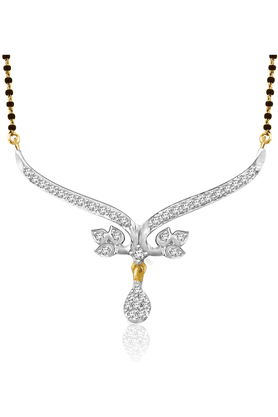 SPARKLES 18 Kt Gold Mangalsutra With Diamond Pendant Set N8742