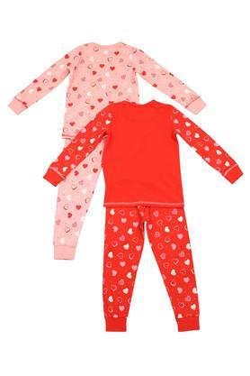 Girls Round Neck Printed Tee and Pyjama Set - Pack of 2