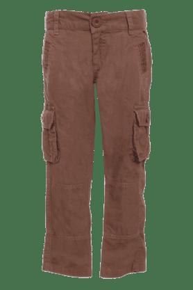 Boys Cotton 6 Pocket Solid Trouser