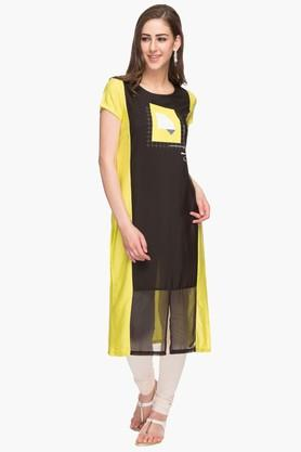 Womens Round Neck Colour Block Kurta